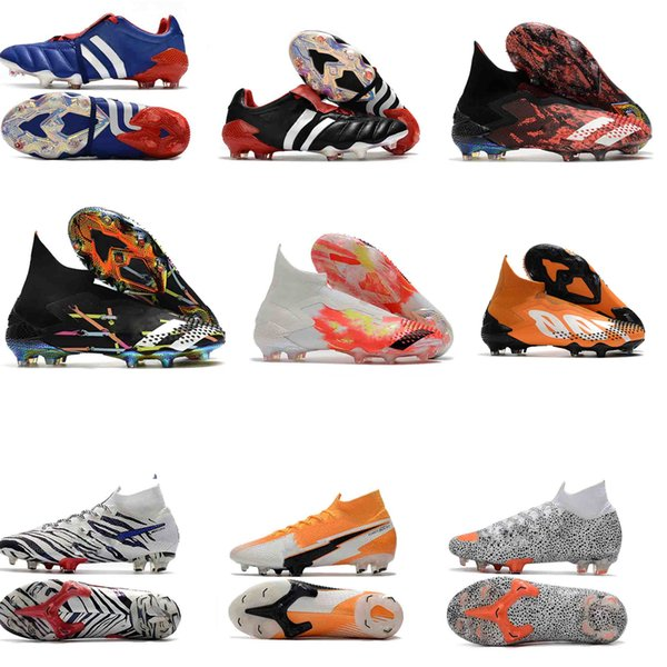 top popular Flash Crimson mens football boots Soccer Cleats Mercurial Superfly VI 360 CR7 Superfly predator mania Soccer Shoes High Ankle Football Boots 2020