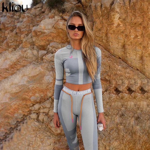 top popular women fitness two pieces set long sleeve crop top letters print elastic skinny leggings sportswear tracksuit slim outfit 2021