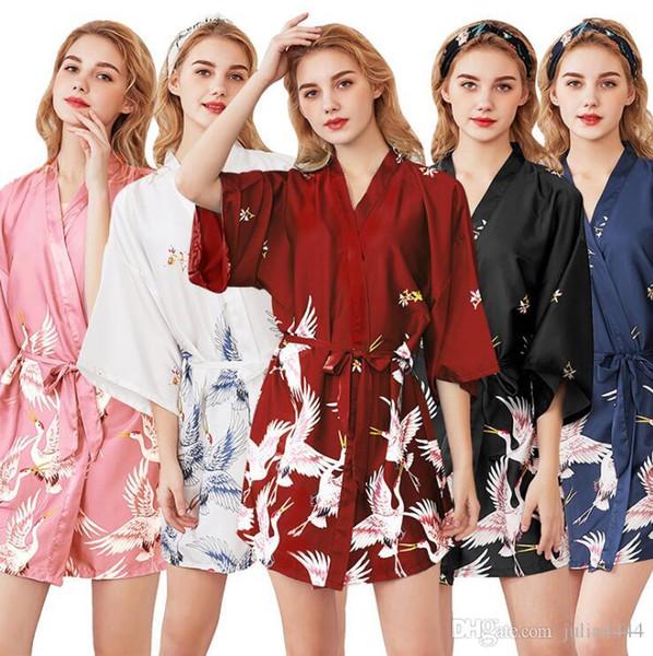 best selling Bride Bridesmaid Dresses Wedding Kimono Bride Sleepwear Bridesmaid Robes Pajamas Bathrobe Nightgown Spa Bridal Robes Dressing Gown