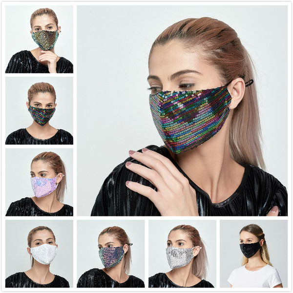 top popular 8 Colors Sequin Face Mask Outdoor Suncreen Anti Dust Breathable Washable Face Mask Reusable Facial Protective Mask Designer Masks 2021