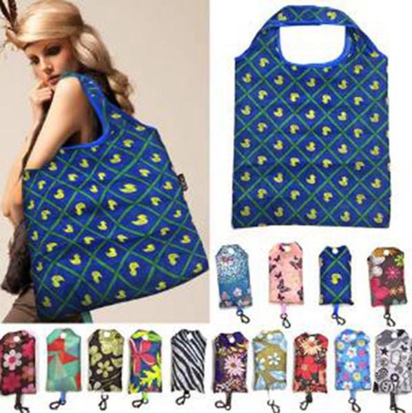 top popular Portable Shopping Bag Supermarket Large-capacity Folding Shopping Bag Printing Polyester Women Shopping Durable Storage Bags 120pcs IIA104 2021