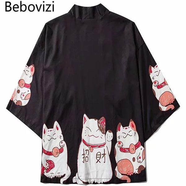ORLD Ropa Asia Islas del Pacífico Ropa Bebovizi Japón Ropa de estilo Hombres Verano Streetwear Gato Imprimir Kimono Cardigan Mandarin Ro ...