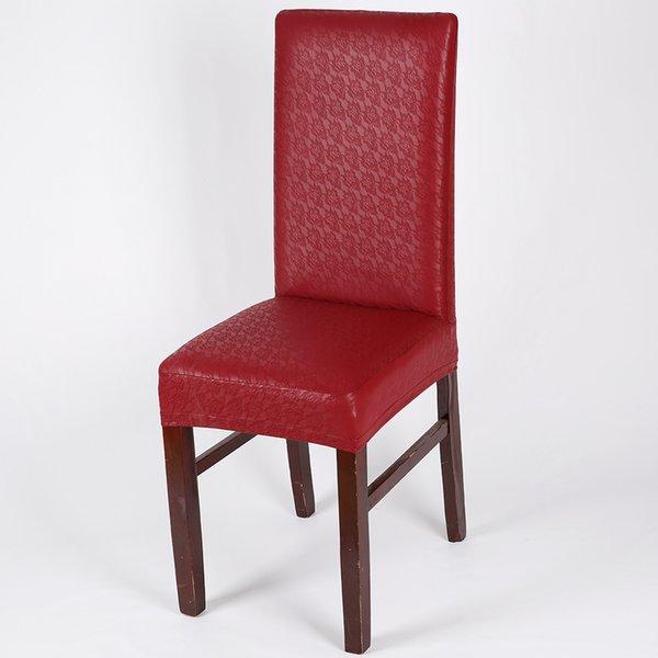 cubierta de la silla de la PU de encaje rojo vino