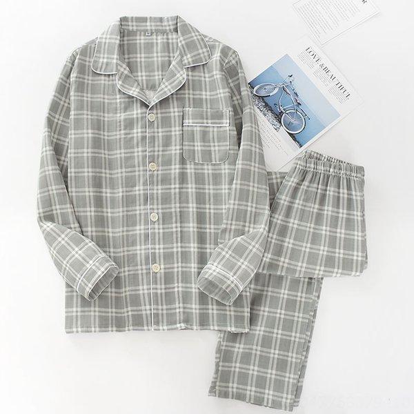 Q мужчин # 039; s марлевые серые клетчатые пижамы