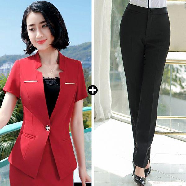 Pantalones de traje negro traje rojo +