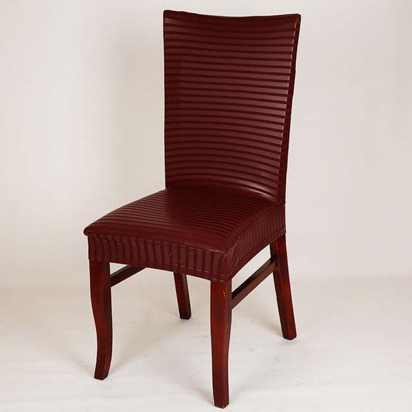 rayas de vino tinto cubierta de la silla de la PU