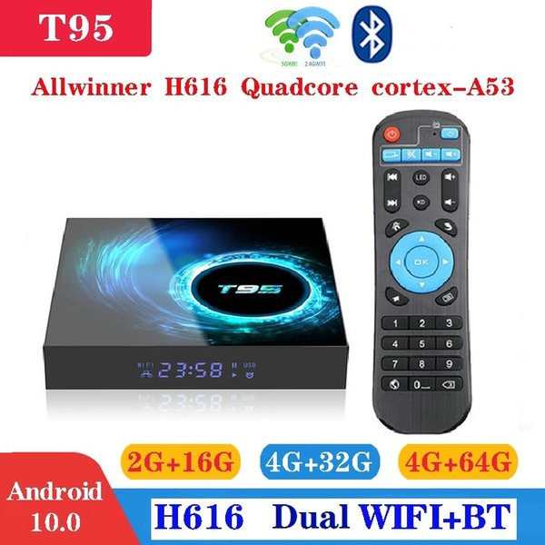 best selling T95 Android 10.0 TV Box H616 4GB+32GB Dual Wifi 2.4G+5G Support BT 6K Caja de tv android PK X96 Air A95XF3