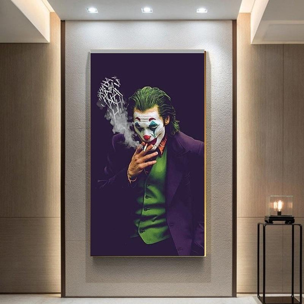 top popular 2020 The Joker Wall Art Canvas Painting Wall Prints Pictures Chaplin Joker Movie Poster for Home Decor Modern Nordic Style Painting 2020