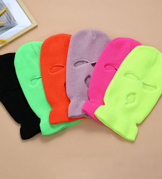 top popular 3-Hole Full Face Cover Ski Mask Winter Cap Balaclava Hood Beanie Warm Tactical Hat party hats 14 colors LJJK2449 2021