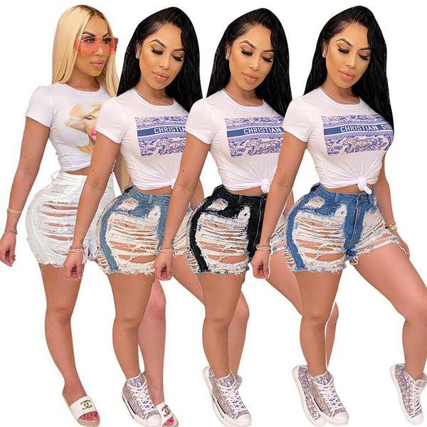 top popular Women Short Jeans Sexy Hole Denim Shorts Ladies High Waist Hot Shorts Summer Female Casual Short Pants Womens Fashion Jeans 050713 2021