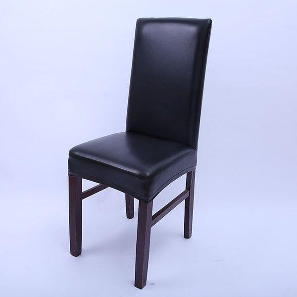 cubierta de la silla de la PU sólido negro