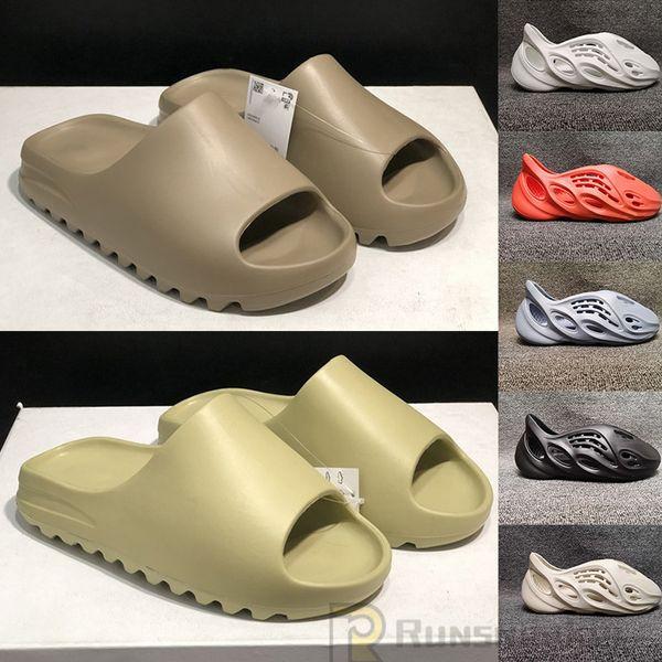 best selling 2020 Fashion Kanye West Slides Foam Runner Desert Sand Earth Brown Resin Mens Womens Slipper pantoufle Luxe male female Sandal Slippers