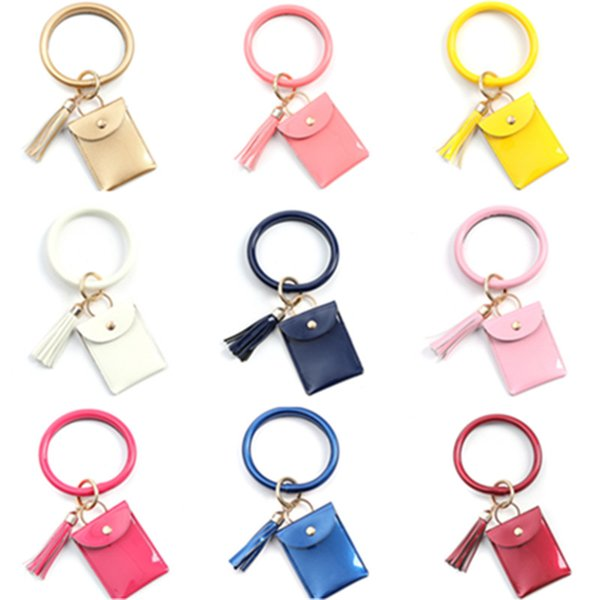 Women PU Leather Tassel Bracelet Bangle with Credit Card Purse Wallet Pouch Solid Color Designer Bag Coin purse card holders LY8031