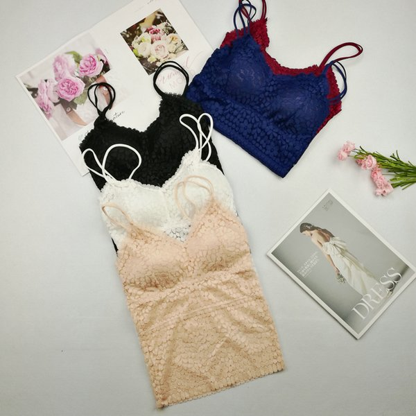 top popular Girls Sexy Hollow-out Lace Camis Tops With Bra Women Backless Padding Tanks Crop Tops For Female FL1271 2021