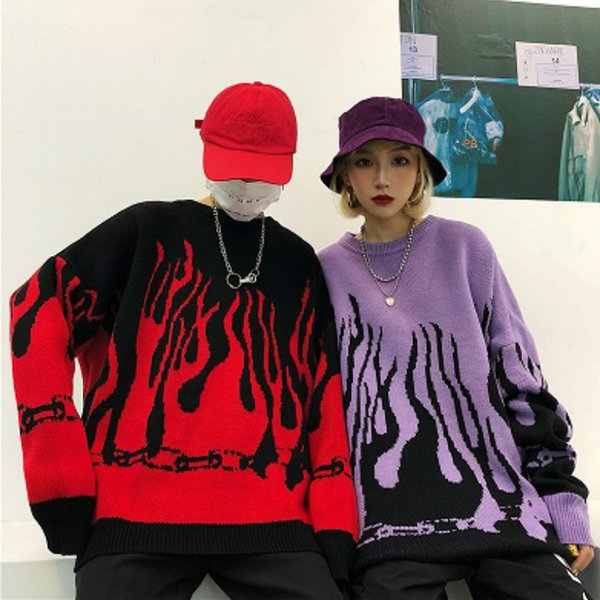 top popular Men Sweater 2020 Autumn Winter Harajuku Flame Knitting Loose Long Sleeve Sweater Contrast Color Japan Style Streetwear Pullover Crew Neck 2020