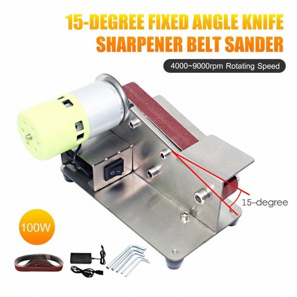 best selling 15-degree Fixed Angle Knife Sharpener Belt Sander 7 Level Adjustable Polisher 100W Polishing Machine with 10pcs Sanding Belts 6lVV#
