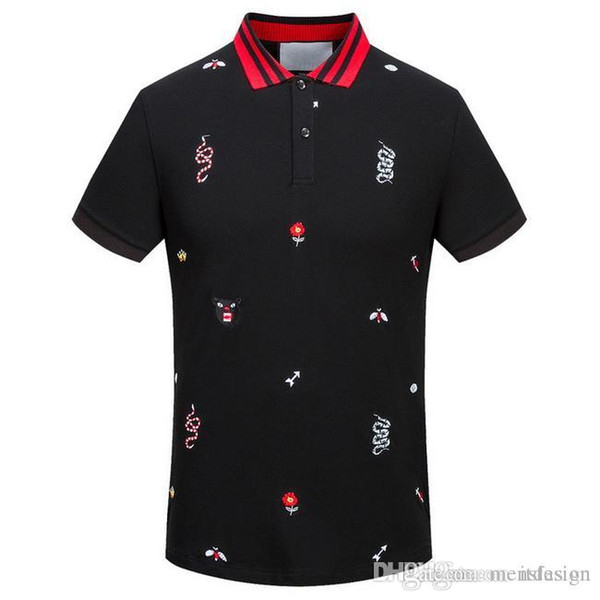 best selling Luxury Embroidered Bee Snake Tiger Head Flower Pattern Mens Designer Polo T shirts Summer Short Sleeved Turn Down Collar Short Sleeved Tops