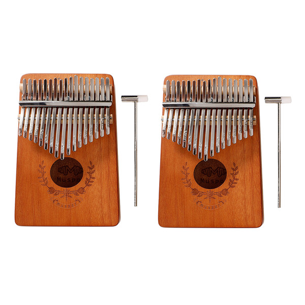 top popular Set of 2 17-Key Kalimba Thumb Piano Wood Finger Mbira Music Instrument 2021