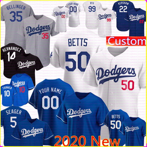 top popular new 50 Mookie Betts jersey 2020 NKE Custom 35 Cody Bellinger Jerseys Enrique Hernandez Justin Turner Corey Seager Clayton Kershaw Ryu 2020