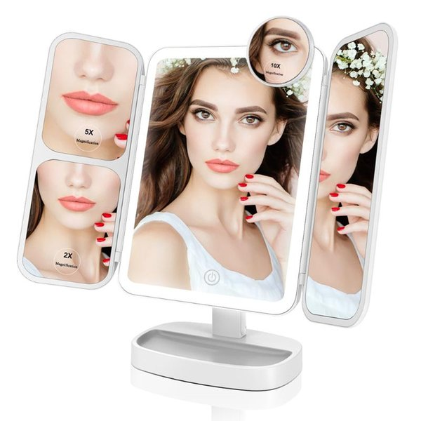 portable led lighted makeup mirror vanity 2x/5x/10x magnifying mirrors dual power supply cosmetic mirror for beauty easehold