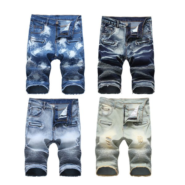 best selling Fashion Mens Biker Motorcycle Jeans Shorts Ripped Denim Shorts Summer Cotton Knee Length Short Pants for Male