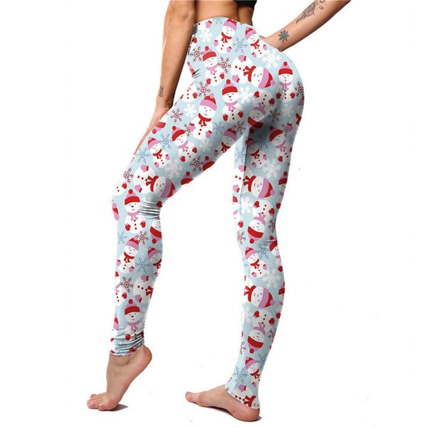 woman fitness slim leggings design christmas snow deer mid floral print stripe pants holiday santa legging, Black