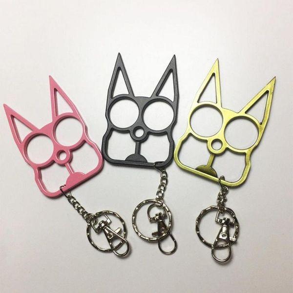 top popular Self Defense Alloy keychain for Women Men Keychains Cute Cat Original Tool Key Chain Key Chain Bottle Opener Screwdriver Outdoor 2020