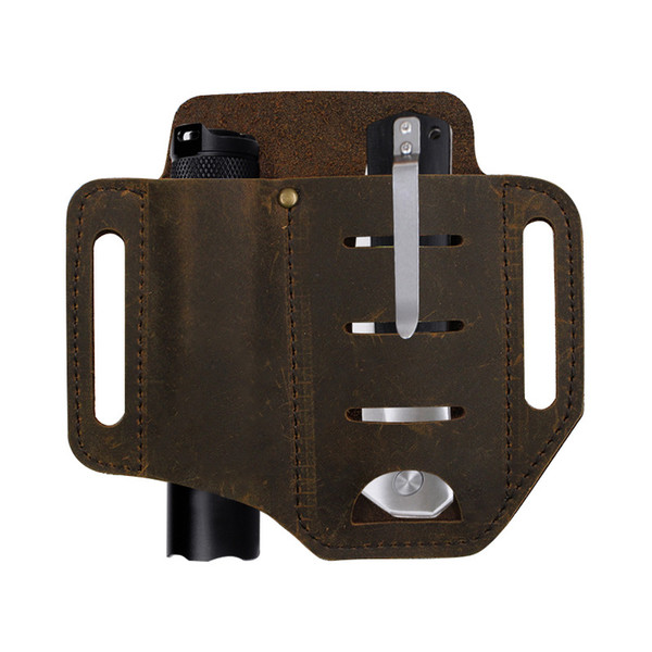top popular Handmande EDC Leather Essential Carrier For Military Mutil Tool Sheath 2 Colour Select Brown and Black 15.2cm*13.5cm 5.98*5.31inch 2021