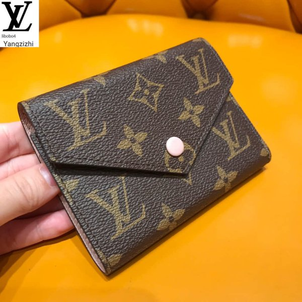 top popular Libobo4 Ballet Powder 30% Short Victorine Bean Bean Wallet M41938 Long Wallet Chain Wallets Compact Purse 2020