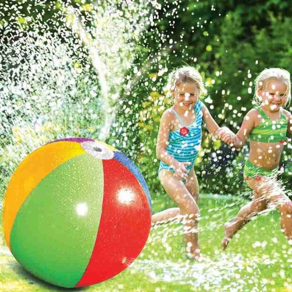 best selling 75CM Summer Inflatable Water Spray Ball Toy Fun Water Polo Lawn Inflatable Sprinkler Ball Swimming Pool Play Water Summer Toy