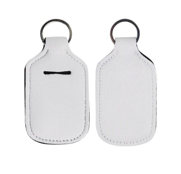 top popular 30ml Hand Sanitizer Bottle Holder Keychain Neoprene Liquid Soap Bottle Holder Keychain Blank White and Soft Ball Printing Colors SN3050 2020