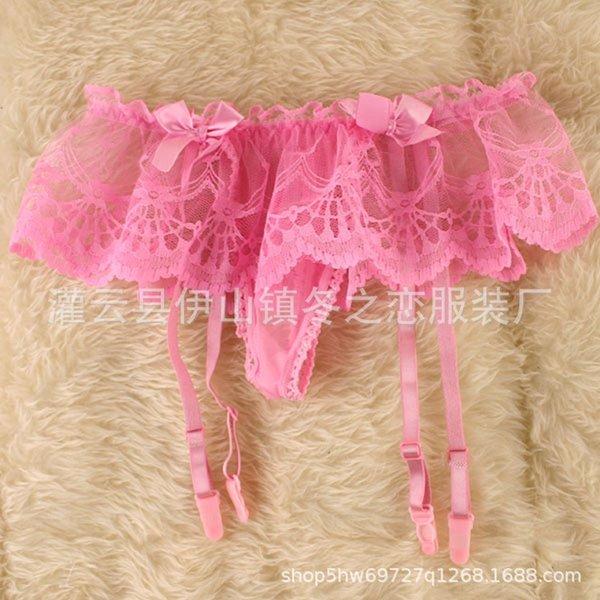 pink -suspender Belt + silk stockings