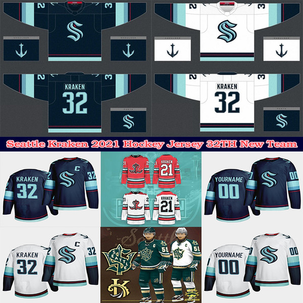 best selling 2021 Seattle Kraken Ice Hockey Jersey 32th New Team Custom Mens Womens Youth Home Road Any Nunber Any Name All Stitched Hockey Jerseys
