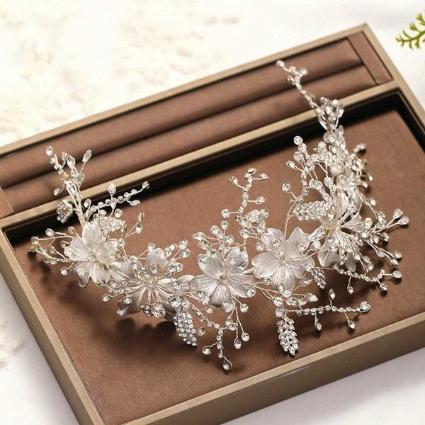 best selling Fashion Silver Color Headbands For Women Bride Handmade Hair Jewelry Crystal Flower Wedding Hairbands Pageant Headpiece Ornament IAW8#