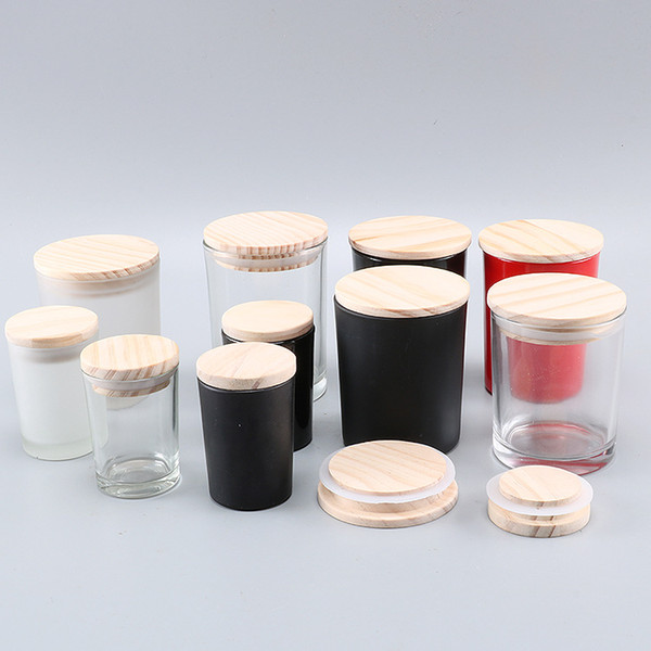 top popular 50ml 160ml 200ml Matte black clear frosted transparent glass candle empty cup with wooden lid DIY candle container 2021