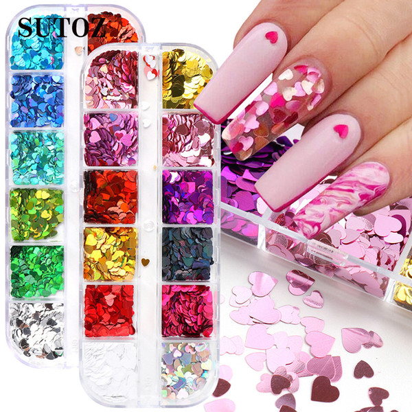 best selling Butterfly Nail Sequins Paillette Heart Shaped Nail Art Decorations 3D Flakes Slices Spangle Laser Nail Holographics Glitter Stickers