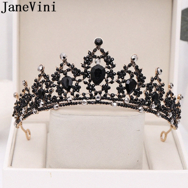 best selling JaneVini Gothic Black Crystal Tiaras Wedding Crown for Bridal Headpiece Baroque Bride Tiara Wedding Headband Hair Accessories 50Lh#