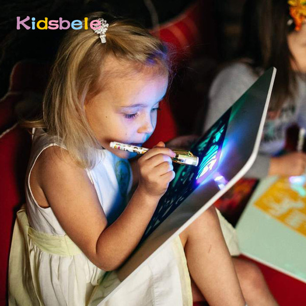 top popular A3 Big Light Luminous Drawing Board Kids Tablet Draw In Dark Magic With Light-Fun Fluorescent Pen Children Educational Toy 2021