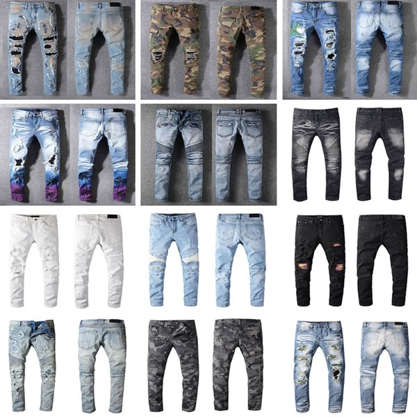 best selling Distressed France Fashion Pierre Straight Jeans Men's Biker Jeans Hole Stretch Denim Casual Jean Men Skinny Pants Elasticity Ripped Trousers