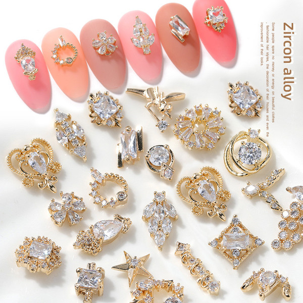 best selling 3D metal Zircon Nail art Decorations top quality crystal manicure jewelry nails decoration zircons diamond charms