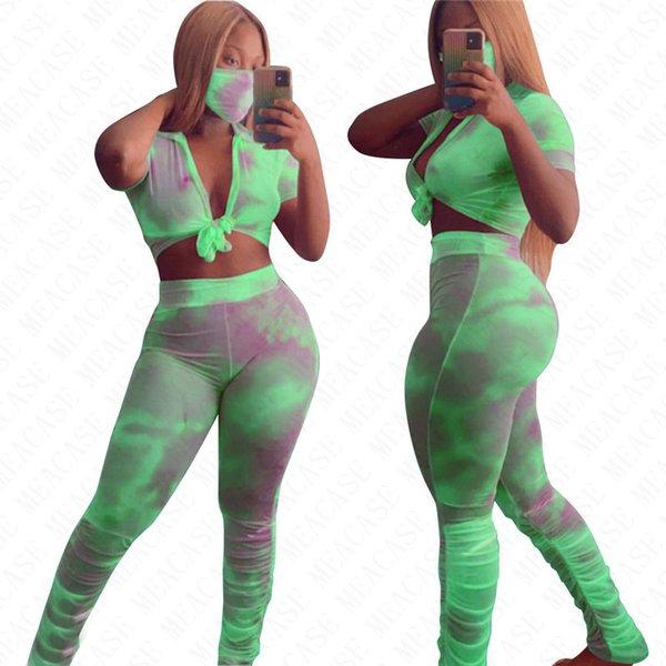 999M_Green_1Lot = 3Pieces = 1top + 1pants + 1mas