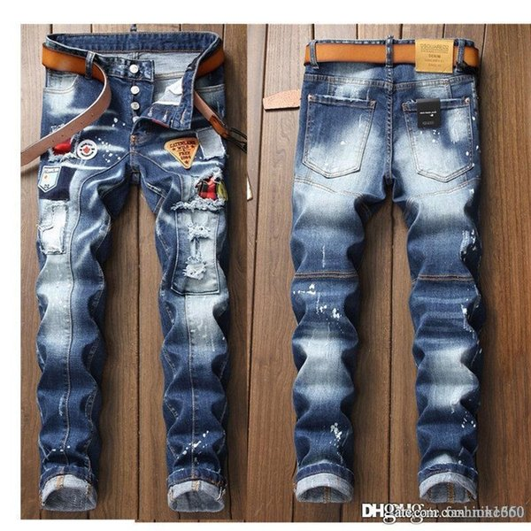 best selling 2020 New Mens Jeans Distressed Ripped Biker Jeans Slim Fit Motorcycle Biker Denim Jeans 2019 Fashion Pants