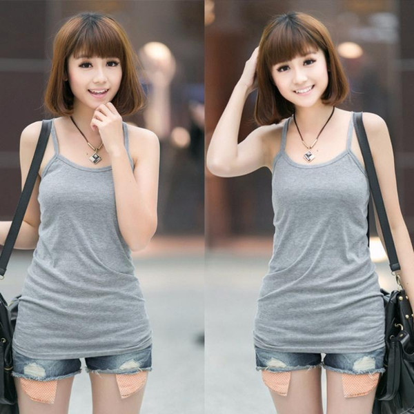best selling Sexy Women Plain Camisole U-neck Vest Stretchable Backless Slim Sling Tank Tops 2020 New