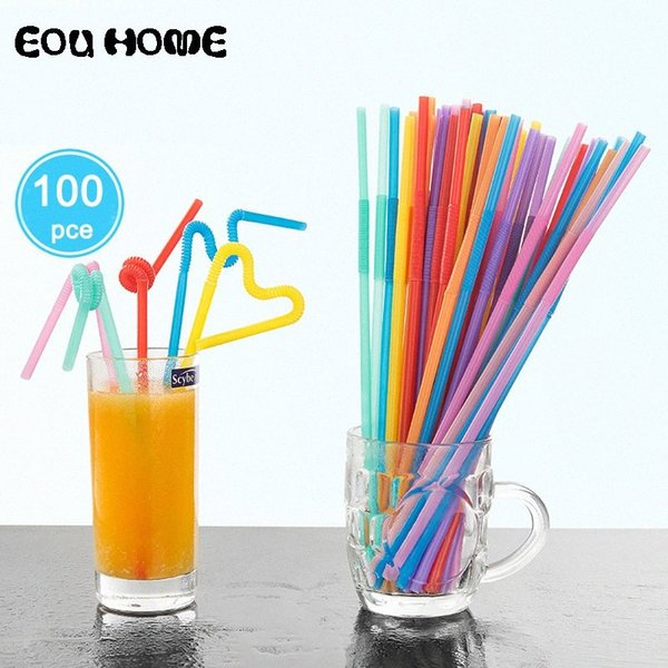 top popular 100PC Pack Flexible Plastic Mixed Colours Party Disposable Drinking Straws Kids Birthday Wedding Decoration Event Supplies wjgr# 2021
