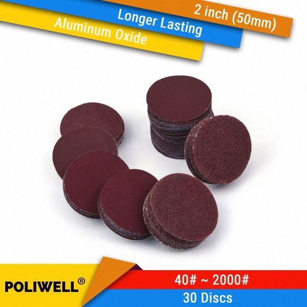 best selling 30PCS 2 Inch(50mm) Aluminum Oxide Hook&Loop Red Grain Dry Sanding Discs for Woodworking Dremel Power Tools Polishing Accessories yoOB#