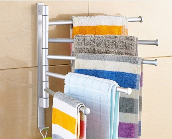top popular 2020 hot sale Non punching space aluminum towel rack can rotate multi pole bathroom towel bar hardware pendant shelf TR02 2021