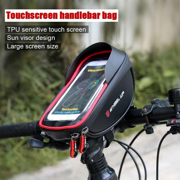 top popular WHEEL UP Cycling Bike Handlebar Pouch Bicycle Head Tube Mobile Phone Bag Case for MTB Bike Bicycle wheels bike smartphone case MX200717 2021