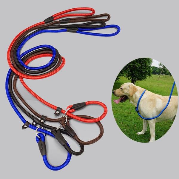top popular Hot DHL Pet Dog Nylon Rope Training Leash Slip Lead Strap Adjustable Traction Collar Pet Animals Rope Supplies Accessories 0.6*130cm F23E 2020