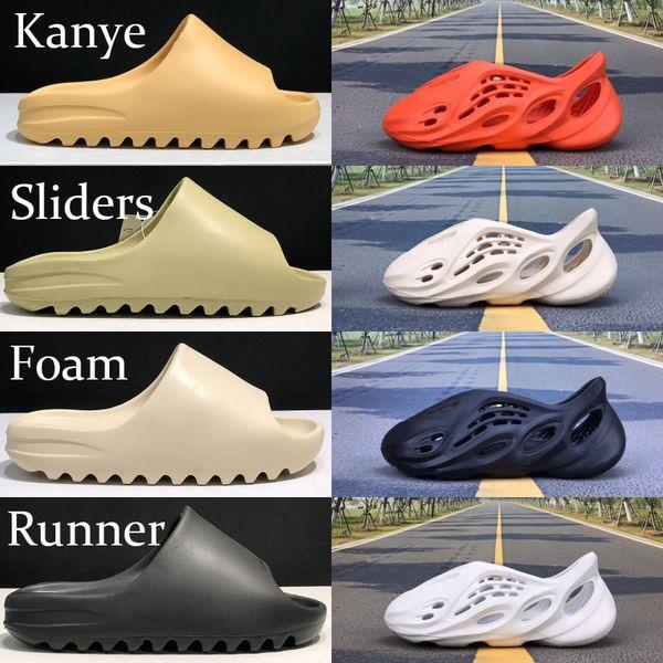 top popular Comfortable Kanye shoes cool summer foam runner desert sand earth brown resin soot men women slide sandals triple black red Ararat hole shoe 2020