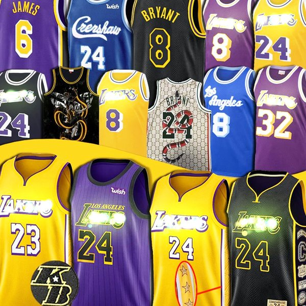 best selling Bryant jersey 24 LeBron 23 James Anthony 3 Davis Kyle 0 Kuzma Basketball Jerseys S-XXL Los Angeles